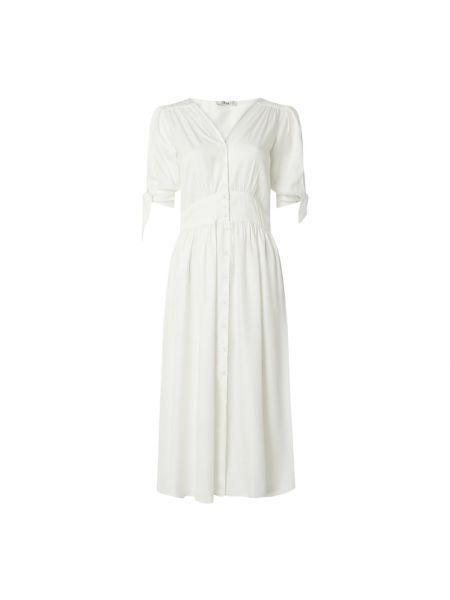 Biała sukienka rozkloszowana z wiskozy Ltb