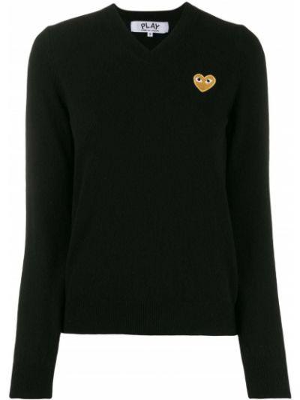 Z rękawami wełniany czarny długi sweter Comme Des Garcons Play
