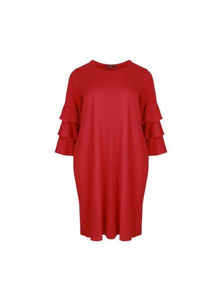 Красное платье миди оверсайз с длинными рукавами с оборками Mat Fashion
