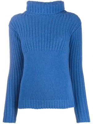 С рукавами кашемировый синий вязаный джемпер в рубчик Liska