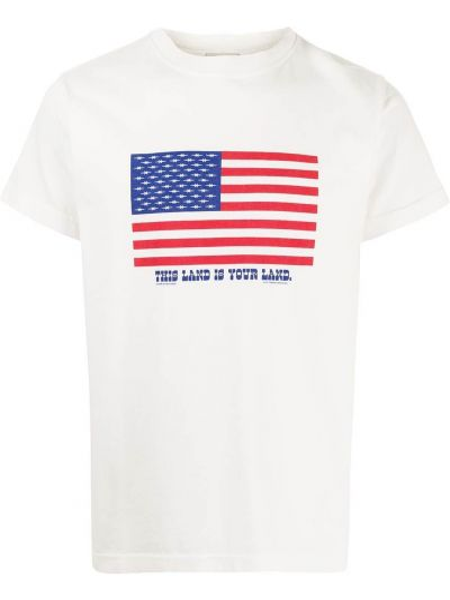 Biały prążkowany t-shirt z printem Phipps