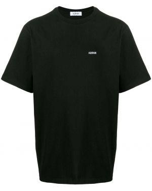 Черная футболка с вышивкой Adish