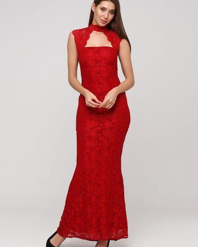 Облегающее красное кружевное вечернее платье Goddiva