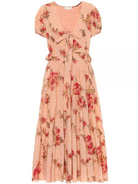 Платье розовое с цветочным принтом Loveshackfancy