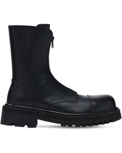 Кожаные ботинки на молнии с подкладкой Vetements
