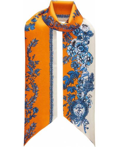 Оранжевый шарф с цветочным принтом Fendi