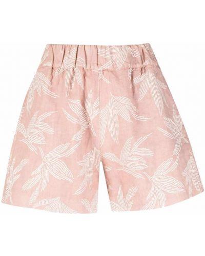 Розовые шорты с карманами в цветочный принт 120% Lino