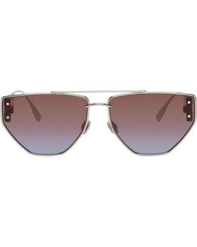Кожаные белые солнцезащитные очки прозрачные Dior