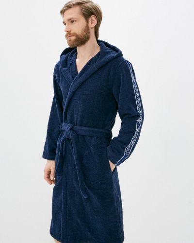 Синий домашний халат Emporio Armani
