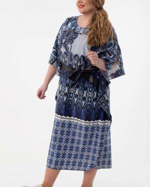 Платье с поясом серое платье-сарафан Wisell
