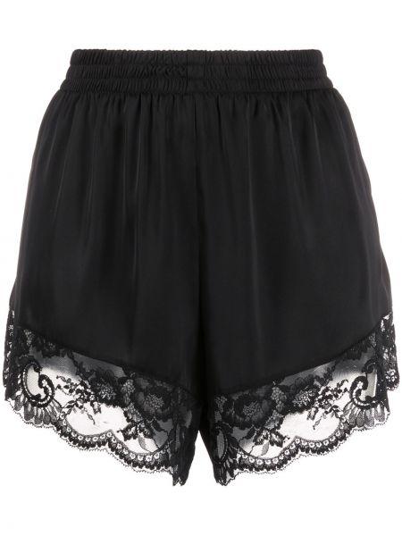 Кружевные черные шорты на шнурках Paco Rabanne