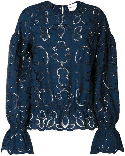 Блузка с вышивкой синяя Perseverance London