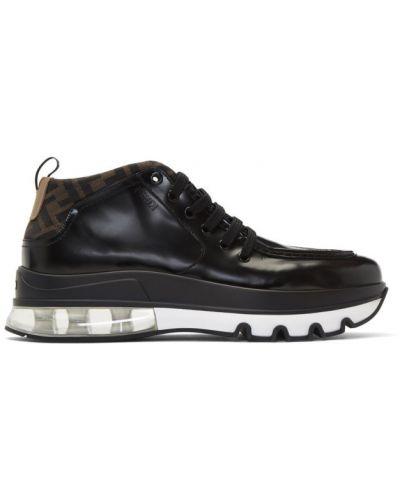 Черные сапоги с высоким голенищем на шнуровке Fendi