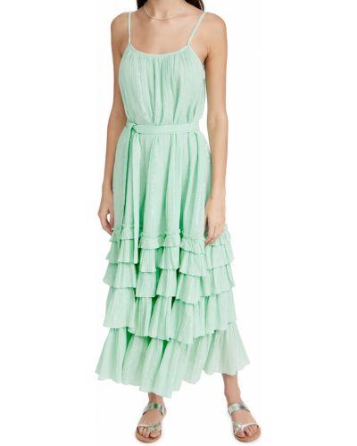 Платье в полоску с поясом на бретелях Sundress