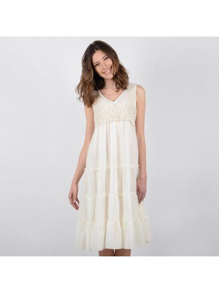 Хлопковое расклешенное платье миди на молнии без рукавов Molly Bracken