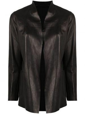 Прямая черная кожаная куртка Salvatore Santoro