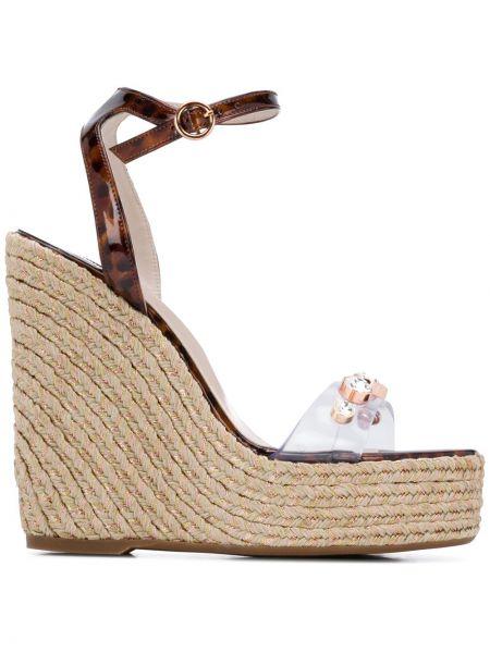 Skórzany sandały na koturnie z klamrą na pięcie na platformie Sophia Webster