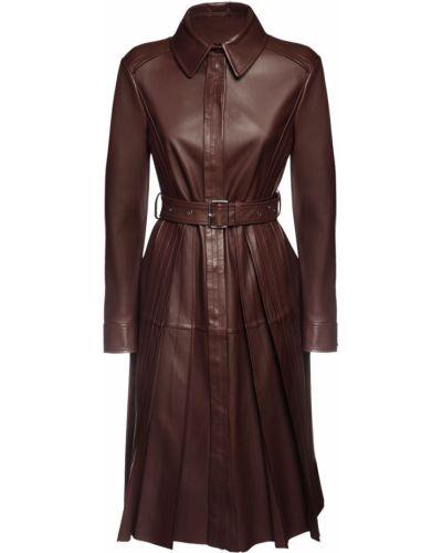 Коричневое кожаное плиссированное платье с карманами Sportmax