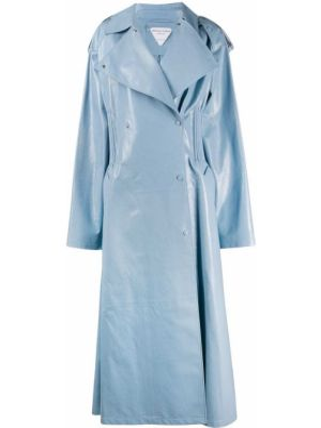 Długi płaszcz skórzany z kieszeniami Bottega Veneta