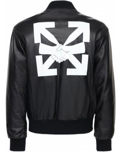 Кожаная куртка - черная Off-white