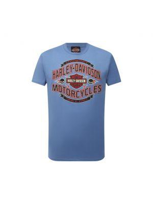 Белая футболка с принтом Harley Davidson