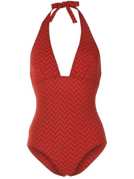 Плюшевый красный слитный купальник с вырезом Eres