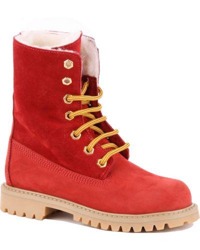 Ботинки из нубука красные Gallucci