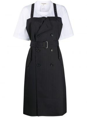 Czarna sukienka mini w paski krótki rękaw Junya Watanabe