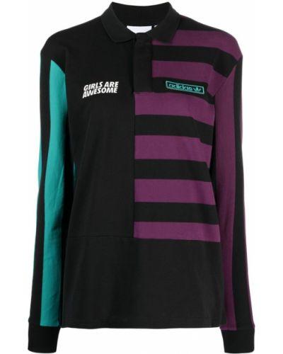 Czarna koszula bawełniana z długimi rękawami Adidas