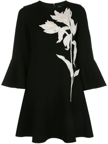 Черное расклешенное платье с вырезом с аппликациями Oscar De La Renta