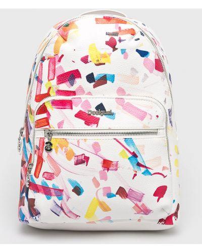 Кожаный рюкзак белый с отделениями Desigual