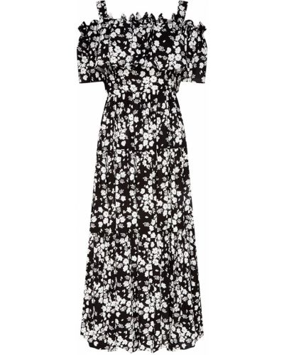Свободное белое платье макси с декольте ли-лу