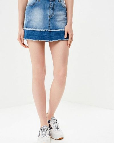 Синяя юбка мини Fornarina