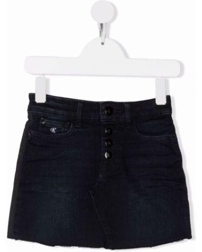 Spódnica jeansowa z paskiem - niebieska Calvin Klein Kids