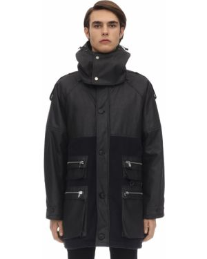 Czarny płaszcz z kapturem bawełniany Raglan United
