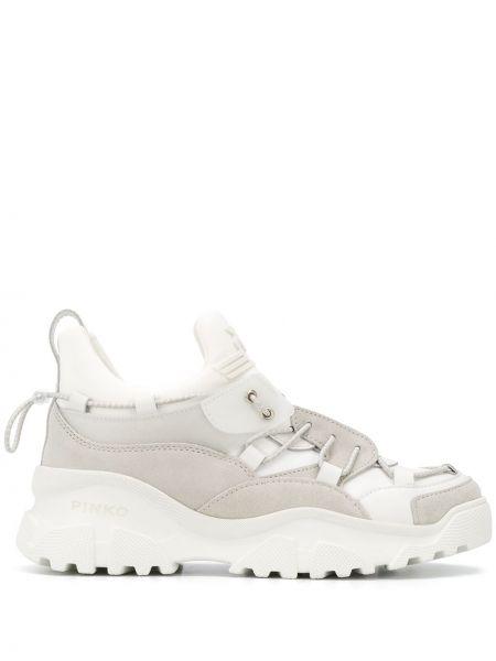 Кожаные кроссовки белый оверсайз Pinko