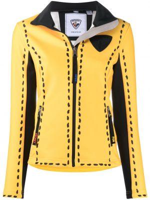 С рукавами желтая длинная куртка с воротником Rossignol
