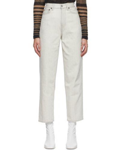 Prosto skórzany niebieski jeansy o prostym kroju z kieszeniami Acne Studios
