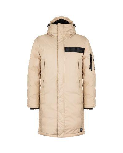 Бежевая утепленная длинная куртка на молнии Termit