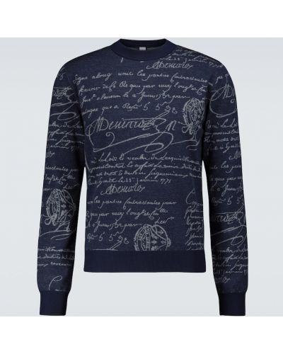 Синий шерстяной свитер Berluti