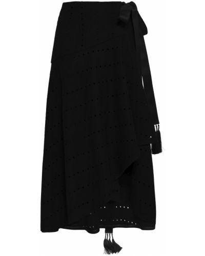 Шерстяная черная юбка миди с подкладкой Amanda Wakeley