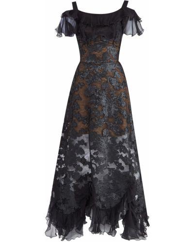 Вечернее платье с вышивкой - черное Elie Saab