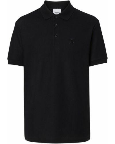 Klasyczny czarny t-shirt z haftem Burberry