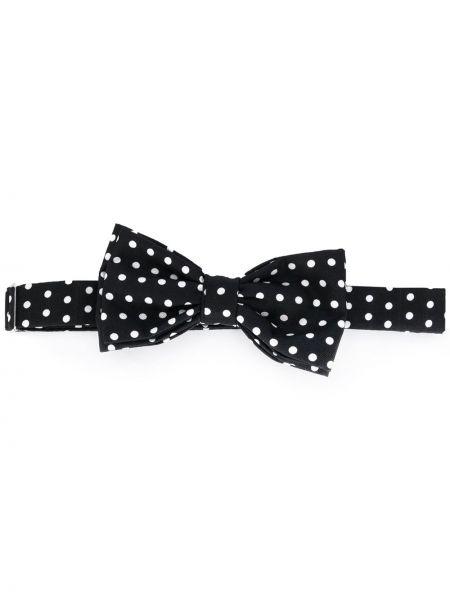 Czarny krawat w grochy z jedwabiu Fefe