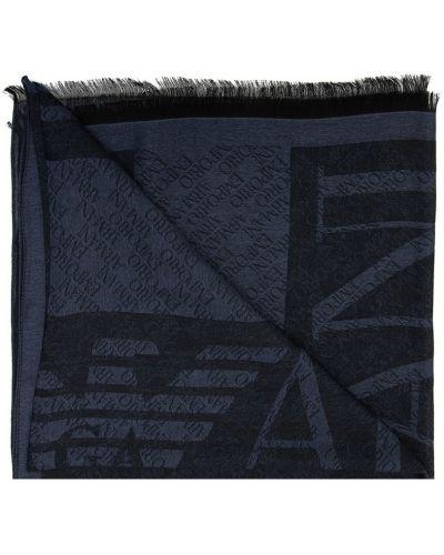 Czarny szalik w paski Emporio Armani