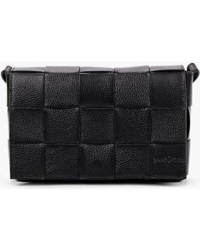 Черная сумка через плечо из натуральной кожи Wojas