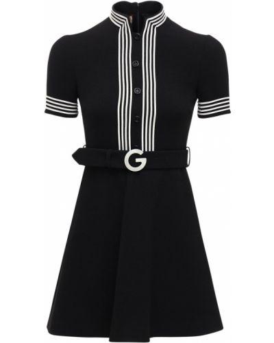 Платье с поясом на молнии из крепа Gucci