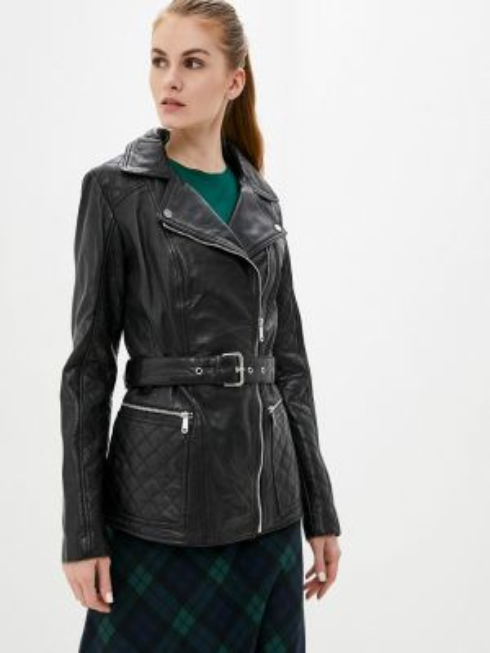 Кожаная черная кожаная куртка La Reine Blanche