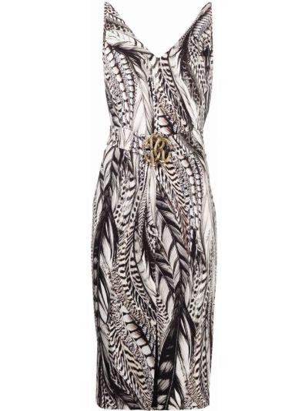 Платье с разрезом из вискозы с V-образным вырезом с принтом Roberto Cavalli