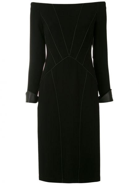 С рукавами черное платье миди с открытыми плечами Reinaldo Lourenço